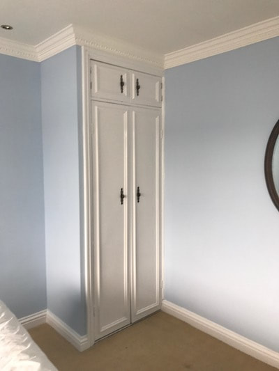 Our Decorators Gloucester team painted this subtle blue colour on the bedroom walls in a charming house in Brockworth.